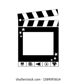 Selfie booth icon. Concept photo. Collection cinema icon with film equipment. Design award card.  Vector template on isolated backgound.