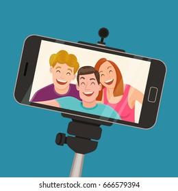 Captura de selfie con un smartphone de tres amigos de pie y riendo. El concepto de amistad y juventud. Ilustración vectorial.