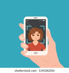 Selfie colorful vector concept. Cartoon illustration of woman taking a photo of herself with smartphone. Hand holding telephone with girl portrait on the screen