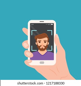 Selfie colorful vector concept. Cartoon illustration of man taking a photo of herself with smartphone. Hand holding telephone with guy portrait on the screen