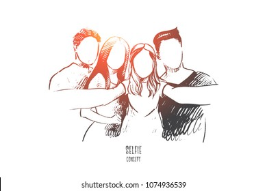 Selfie concept. Hand drawn group of people taking selfie isolated vector illustration.