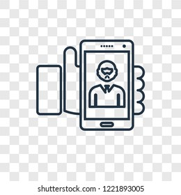 Selfie concept vector linear icon isolated on transparent background, Selfie concept transparency concept in outline style