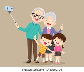 selfie family.grandparents.Elderly couple making selfie Photo,happy grandparents and parents with kids making selfie
