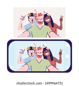 Selfie flat vector illustration. Friends take animated self photo. Picture with animal face items. Smartphone selfie app with mask filter cartoon character with outline elements on white background