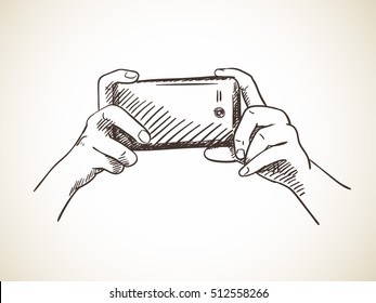 Selfie with mobile smart phone isolated, Vector sketch Hand drawn illustration