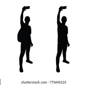 selfie pose man silhouette illustration