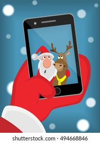 Selfie Santa and reindeer snow