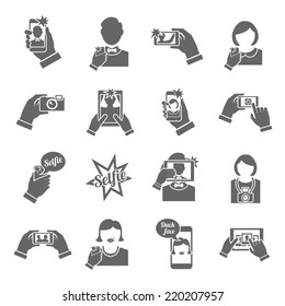 Selfie self portrait smartphone picture taking black icons set isolated vector illustration