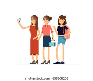 Selfie shot of three young stylish girls. Vector illustration in a flat design. Girls posing full length taking photos with mobile smart phone device.