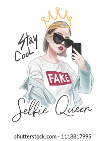 selfie slogan with girl taking selfie illustration