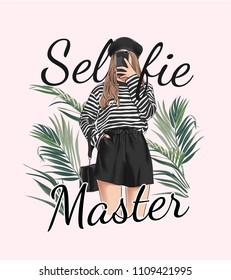 selfie slogan with girl taking selfie on smartphone illustration