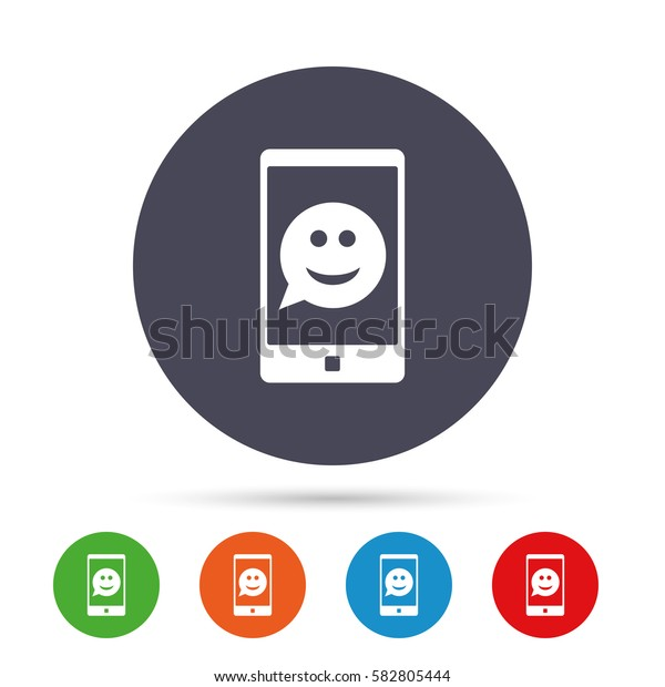 Selfie smile face sign icon. Self photo symbol. Smiley speech bubble. Round colourful buttons with flat icons. Vector