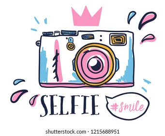 Selfie smile. Print on t-shirt, textile, wear, clothes, card, poster, fabric, diary, or web