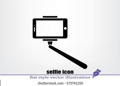 Selfie stick icon vector illustration eps10. Isolated badge for website or app - stock infographics