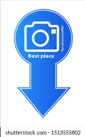 Selfie stick photo camera sign. Vector photography from a mobile phone. The smartphone is allowed. Monobreed selfie resolved symbol icon. Beware of selfie sticks.