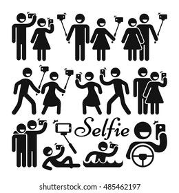 Selfie stick woman and man vector icons set. Photography with mobile phone for social media illustration