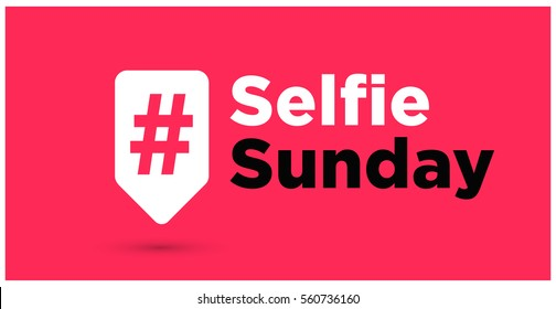 Selfie Sunday Hashtag Inside A Red Tag For Social Media (Vector Illustration in Flat Style Design)