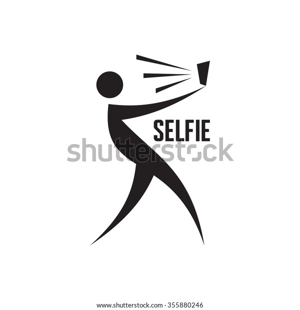 Selfie Vector Logo Template Graphic Illustration Stock Vector