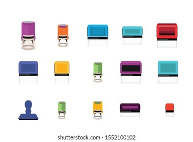Self-inking office Stamp. Rubber stamp set