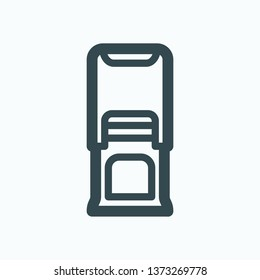 Self-inking stamp isolated icon, rubber stamp outline vector icon