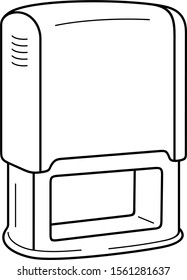 Self-Inking stamp. Vector outline icon.