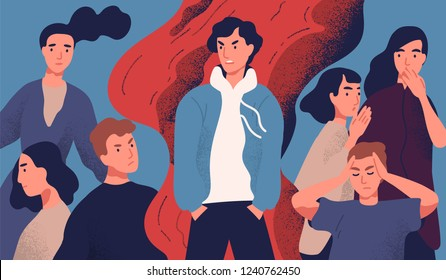 Selfish young man rejected by society because of his annoying behavior. Concept of psychological problem, communication with unpleasant molesting person. Colored vector illustration in flat style.