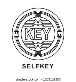 selfkey  coin key Cryptocurrency  icon outline