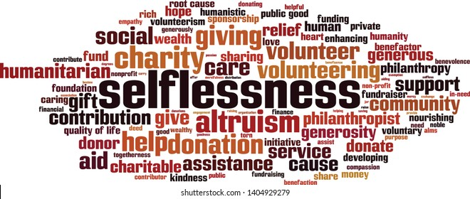 Selflessness word cloud concept. Collage made of words about selflessness. Vector illustration