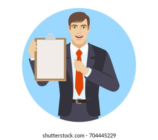 Self-promotion. Businessman holding the clipboard and pointing at himself. Portrait of businessman character in a flat style. Vector illustration.