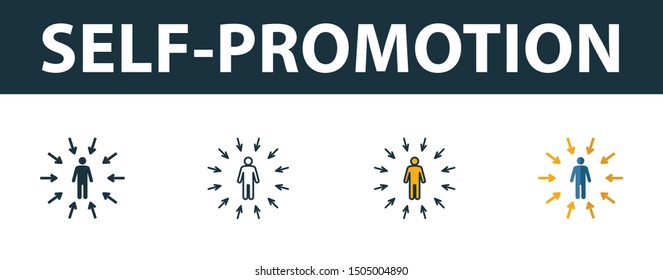 Self-Promotion icon set. Four elements in diferent styles from soft skills icons collection. Creative self-promotion icons filled, outline, colored and flat symbols.