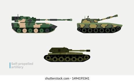 Self-propelled artillery: flat vector illustration