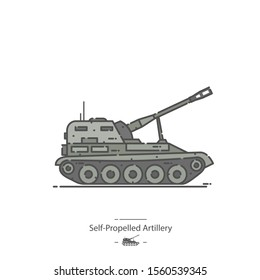Self-Propelled Artillery - Line color icon