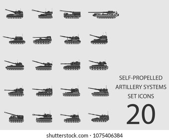 Self-propelled artillery systems set of flat icons. Simple vector illustration