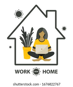 Self-quarantine concept. Work at home during an outbreak of the COVID-19 virus. Coronavirus quarantine preventive measures. Prevent infection spreading. Person working on laptop. Vector illustration