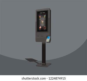 Self-service floor kiosk for fast food, payment terminal, vector design
