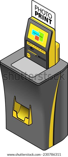 Selfservice Photo Printing Terminal Kiosk Memory Stock Vector