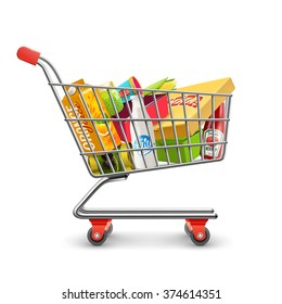 Self-service supermarket full shopping trolley cart with fresh grocery products and red handle realistic vector illustration