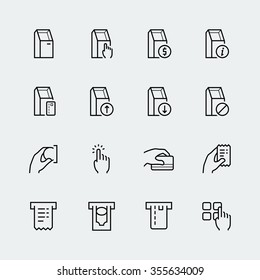 Self-service terminals icon set in thin line style