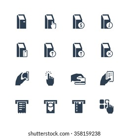 Self-service terminals vector icon set