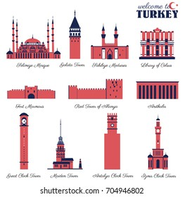 Selimiye Mosque, Sahibiye Medreses, Great Clock Tower, Adana, Library of Celsus, Galata, Maiden Castle of Istanbul, Red Tower of Alanya, Fort Marmaris, Clock Castle of Antalya, Izmir, Anitkabir Ankara