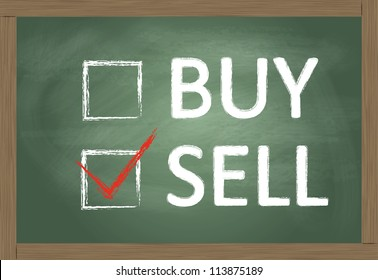 Sell or buy blackboard concept vector background with best choice tick