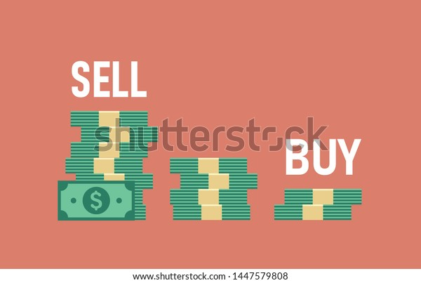Sell High Buy Low Three Piles Stock Vector Royalty Free 1447579808