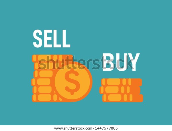 Sell High Buy Low Two Piles Stock Vector Royalty Free 1447579805