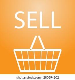 sell slogan and shopping basket symbol eps10