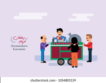 "Seller beside his Beans Cart at street , Ramadan greeting card , people eating ""sohour"" before fasting .. flat illustration"