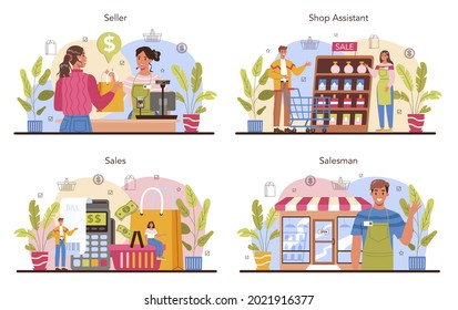 Seller concept set. Professional worker in the supermarket, shop, store. Stocktacking, merchandising, cash accounting and calculations. Client service, payment operation. Flat vector illustration