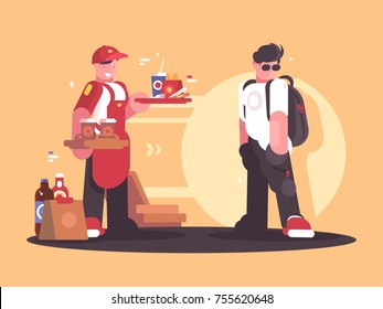 Seller of fastfood in uniform. Fast service in cafe. Vector ilustration