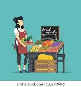 Seller of fresh vegetables. Vector illustration.