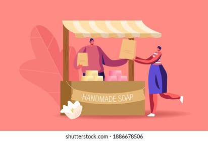 Seller Male Character Stand at Wooden Stall Presenting Handmade Soap on Craft Market. Organic Natural Production for Hygiene and Body Care, Creative Hobby, Workshop. Cartoon People Vector Illustration