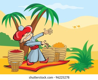 The seller sells spices and fruit in the desert, vector illustration